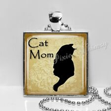 Cat Mom Handmade Art Pendant Necklace Jewelry, Giftcfor Cat Owner