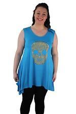 Ladies Plus Size Studded Skull Sleeveless DIP Hem Tunic Top Sizes 14 28
