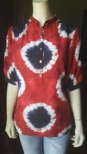 MICHAEL KORS Womens Silk Tie Dye Red Blaze Blouse Top MK Button 3/4 Sleeve Small