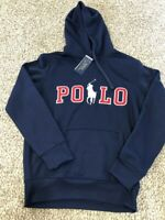 Polo Ralph Lauren Men's Sz S Knit Big Pony Graphic Logo Hoodie Navy/Red