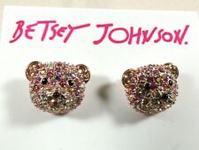 Betsey Johnson Pink Pave Crystal  Bear Face Stud Earrings NWT
