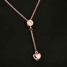 Charm Crystal Gold Heart Pendant Necklace Chain For Women 18K Rose Gold
