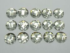 100 Clear Acrylic Flatback Faceted Round Rhinestone Gems 16mm No Hole