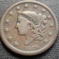 1838 Large Cent Coronet Head One Cent 1c Better Grade  #29014