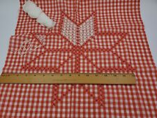 Partial Unfinished SNOWFLAKING EMBROIDERY Red & White Gingham Octagram Star VTG