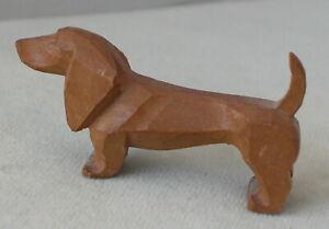 Vintage primitive hand-carved wooden miniature weenie dog Dachshund
