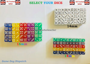New Opaque 14 16mm Six Sided Spot Dice D6 RPG for Ludo Monopoly Board Games UK