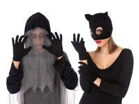 GANTS courts NOIR Accessoire Déguisement Femme Halloween Catwoman NEUF Pas cher