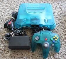 Ice Blue Nintendo 64 System TIGHT Controller Funtastic Atomic Clear Bundle Rare