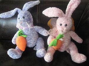 Rare Easter Fiesta plush Purple Bunny Rabbit Stuffed Animal Toy Bow Carrot Wings