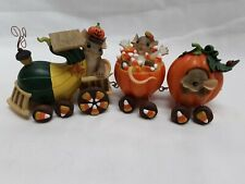 "Charming Tails Train 3 Pc Titled ""On The Fast Track to Fun"" Autumn Or Halloween"