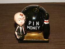 "New ListingVintage 4"" High Ceramic Bowling Ball Pin Money Coin Money Bank"