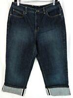 Talbots Stretch Denim Capri Jeans Women's Size 12 Blue Dark Wash Cuffed