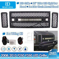 Ford F250/F350 LED Grille+ 22inch 120W LED Light Bar+2X 24W+ 2X Wiring 2008-2010