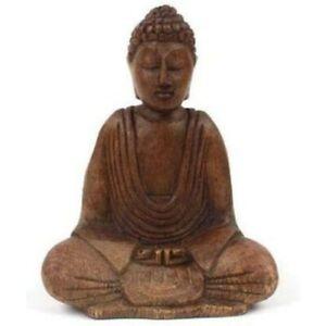 Wooden Hand-Carved Sitting Meditation Buddha Ornament Statue Figure