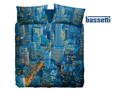 Parure Copripiumino Federe Matrimoniale New York Manhattan Blu Imagine Bassetti