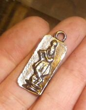 Vintage Antique Silver Figure Pendant Greek Aquarius Ingot -NZ Estate