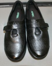 Apex Womens A700 Size 10.5 Medium Shoe Black Leather Oxford Loafer Single Strap