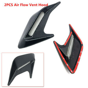 2PCS Carbon Fiber Color Car Hood Air Flow Fender Side Vent Decoration Sticker