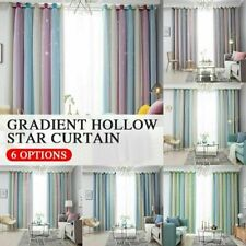 Star Curtains Stars Blackout Curtains for Kids Girls Bedroom Living Room O4E1