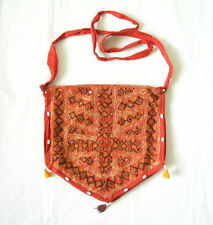 Handmade Embroidered Beaded Tote Sling Hand Bag Purse with Mirrors & pompoms