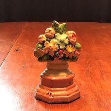 Antique Urn Basket of Flowers Cast Iron Doorstop