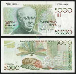 BELGIUM 5,000 5000 Francs Sign 4 & 10 1982-92 P-145 Guido Gezelle UNC