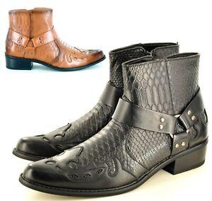 Mens Cowboy Ankle Boots Gents Snake Skin Full Zip Western UK Size 7 8 9 10 11 12