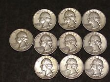 TEN (10) Silver Washington Quarters 1960 - Nice Group of Coins