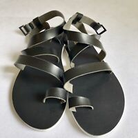 New American Eagle Women Gladiator Sandals Black Flat Size 10 Fast Shipping