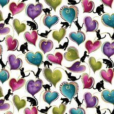 Cat-i-tude Cats /& Swirling Hearts Pearlized Cotton Fabric  1//2 Yard   #10263