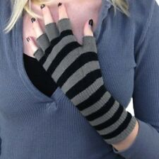 Fingerless Winter Gloves Mittens Long Wrist Grey Black