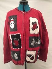UGLY CHRISTMAS SWEATER TACKY HOLIDAY CUTE SNOWMAN RED WOMENS X-LARGE MENS LARGE