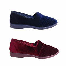 Ladies Slippers Grosby Marcy Slip On Quilted Velour Satin Lined Size 5-11