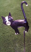 Garden Lawn Yard Decoration animal Black Cat sheet metal pick stake NEW