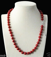 """8mm Genuine Coral Red Round South Sea Shell Pearl Beads Necklace 18"""" AAA"""