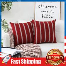 2 Pcs Red Burgundy 18 x 18 inches Modern Farmhouse Striped Cushion Pillow Covers
