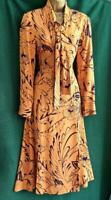 New M&S UK 8-10 Mustard Orange Blue Floral Fit-&-Flare Midi Tea LongSleeve Dress