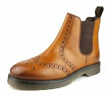 Frank James Walkton Leather Brogue Chelsea Boots Tan