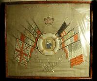 """"""" Present From Gibraltar """" English Navy Seaman Sailor Circa 1900 Silk Militaria"""
