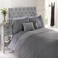 Silver Grey Rose Ruffle Limoges Floral Chic Duvet Quilt Cover Set Bedding Range