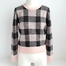 d923b69a44c5 Banana Republic Pullover Crewneck Sweater Womens S Wool Blend Plaid  Pink Gray