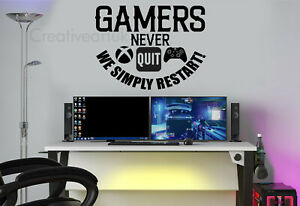 Gaming Wall Stickers XBOX Gamers never Quit Quotes Wall art Gaming Decals XBV1