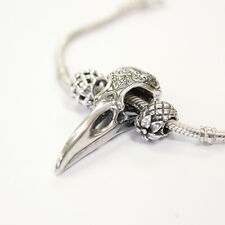 Engraved Raven Skull Necklace Sterling Silver Fits European Style Charm Bead 313