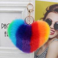 Plush Heart Shape Ball Cute Charm Car Keychain Handbag Bag Pendant Keyring SMART