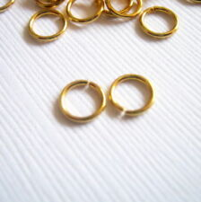 25 Stainless Steel Gold Plated 6 mm Jump Rings, Thickness .8 mm  G1400