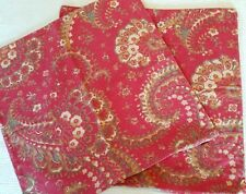 POTTERY BARN RED GOLD CREAM FLORAL PAISLEY THROW PILLOW COVERS COTTON LINEN 20""