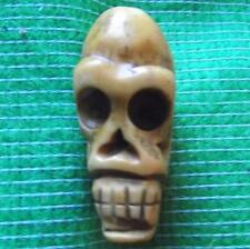 Japanese Scrimshaw Netsuke Bovine Bone Occult Wichcraft Wiki Skull 33mm