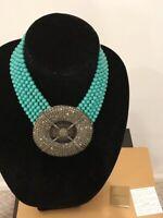 Heidi Daus Belgium Disc Necklace Turquoise Color Beads & Swarvoski Crystal