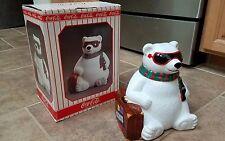 Coca cola 1996 rare HOLLYWOOD coke vintage christmas polar bear cookie jar LE